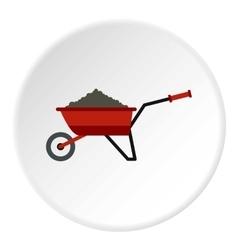 Garden wheelbarrow with earth icon flat style vector