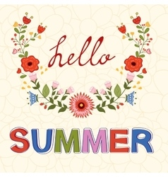 Hello summer typography on floral vector