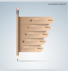 Info graphic with brown pencil and directional vector