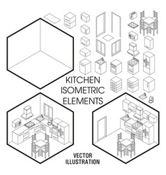 isometric kitchen interior constructor set vector image vector image