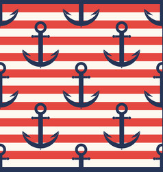 marine pattern anchor navy seamless pattern with vector image vector image