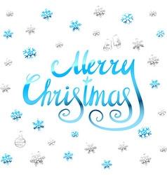 Merry christmas - blue glittering lettering design vector