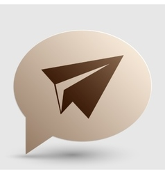 Paper airplane sign brown gradient icon on bubble vector