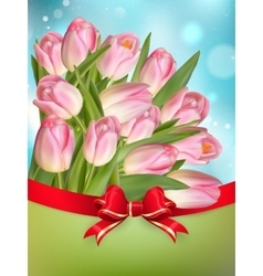 Pink tulips with bow EPS 10 vector image