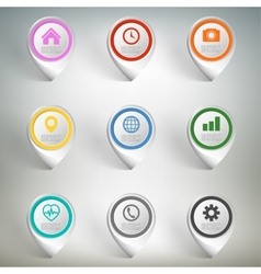 Pointer marks set Colorful icon templates on gray vector image vector image