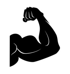 power lifting symbol muscle arm black vector image vector image