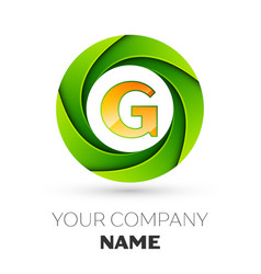 Realistic letter g logo in the colorful circle vector