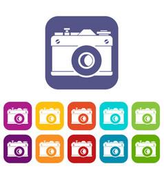 Retro camera icons set vector
