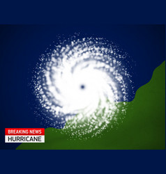 satellite view of a hurricane breaking news vector image