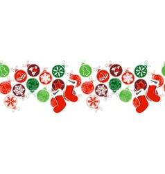 Seamless horizontal border with Christmas vector image vector image