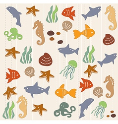 Seamless ocean life pattern 2 vector image vector image