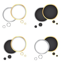 set of gold and silver bubbles for a chat with a vector image