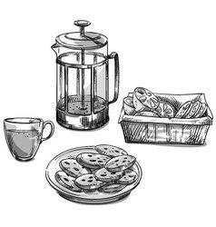 Tea and cookies vector