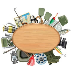 Wooden board with fishing tackle vector