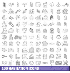 100 habitation icons set outline style vector