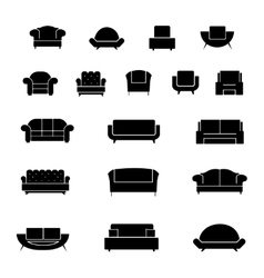 Armchair chairs sofa and couch icons set vector