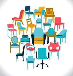 Set of chairs and armchairs set of different chair vector
