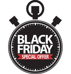 Black friday special offer stopwatch black icon vector