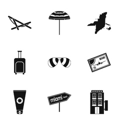 Miami icons set simple style vector