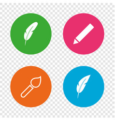 Feather retro pen signs brush and pencil icons vector
