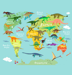 dinosaurs map of the world vector image