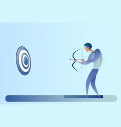 Business man hold bow aim archer get goal concept vector