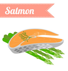 Flat salmon with asparagus vector