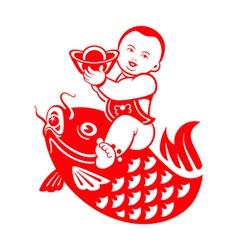 Chubby boy riding a carp vector image