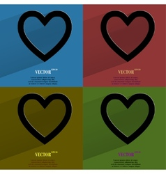 Color set heart flat modern web button with long vector