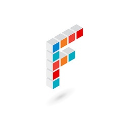 3d cube letter f logo icon design template vector