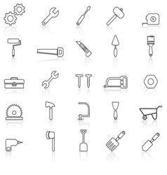 Tool line icons with reflect on white vector