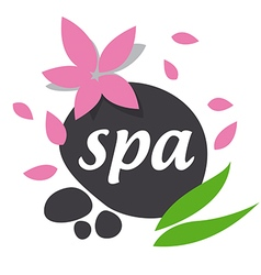 Abstract logo stones and leaves for spa salon vector