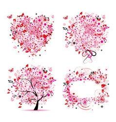 Summer pink tree frame vector