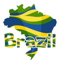 Stylized map of brazil with abstract color stripes vector