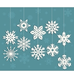 Christmas decoration with white snowflakes vector