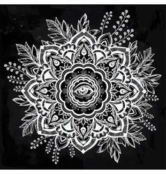 Hand drawn ornate flower with eye inside vector
