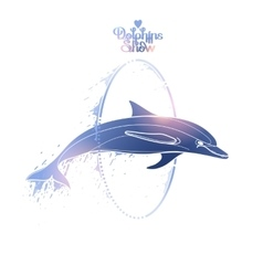 Graphic dolphin jumping through a hoop vector