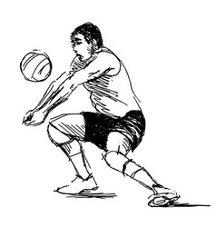 Hand sketch volleyball player vector