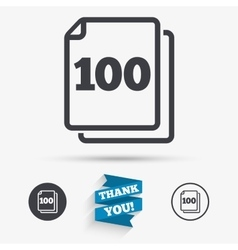 In pack 100 sheets sign icon 100 papers symbol vector