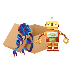 A robot and a box vector image vector image