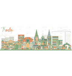 Abstract kochi skyline with color buildings vector
