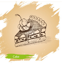background sketch cake of vector image vector image