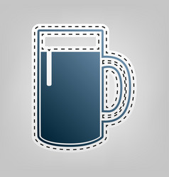 Beer glass sign blue icon with outline vector