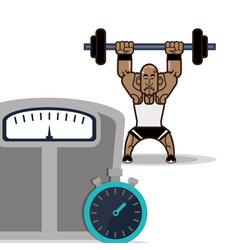Bodybuilder fitness male weight scale and vector
