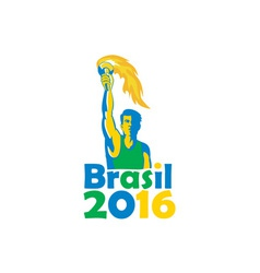 Brasil 2016 summer games athlete torch vector
