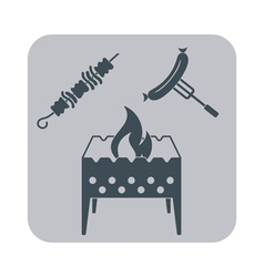 Brazier kebab and sausage icon on gray background vector