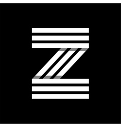 Capital letter z made of three white stripes vector