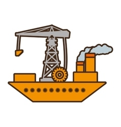 Cartoon ship cargo crane chimney pollution vector