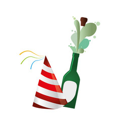 champagne bottle with cork expelled and party hat vector image vector image