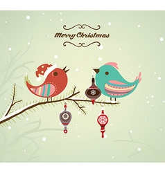 Christmas background with singing birds vector